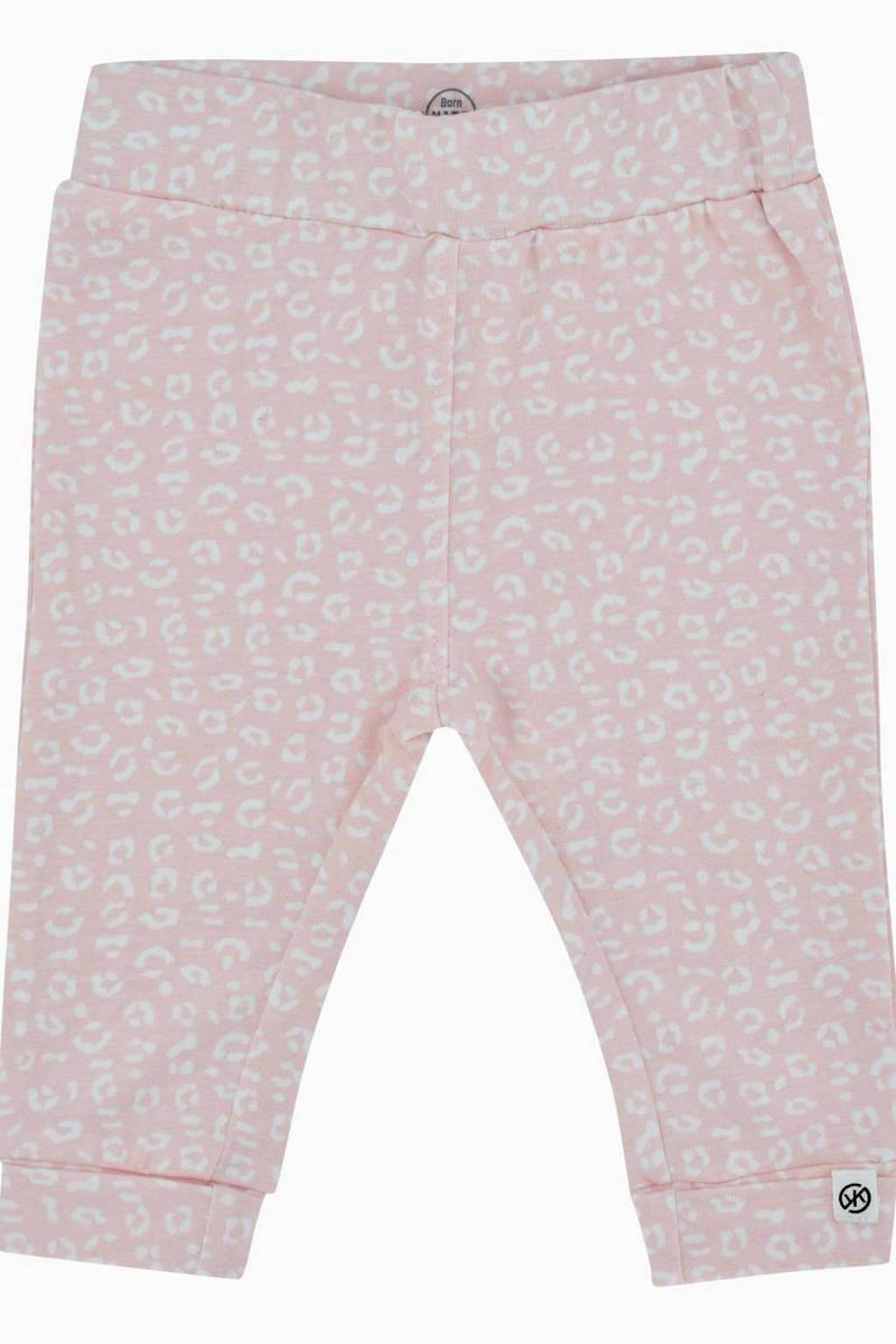 Born by Kiddo United newborn baby regular fit broek met biologisch katoen roze/wit, Roze/wit