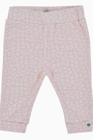 newborn baby regular fit broek met biologisch katoen roze/wit