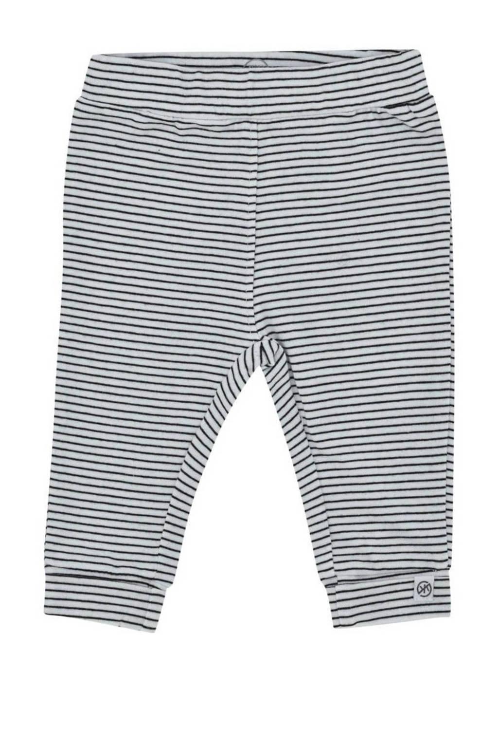 Born by Kiddo United newborn baby gestreepte regular fit broek met biologisch katoen grijs/wit, Grijs/wit