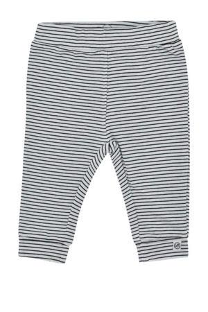 newborn baby gestreepte regular fit broek met biologisch katoen grijs/wit