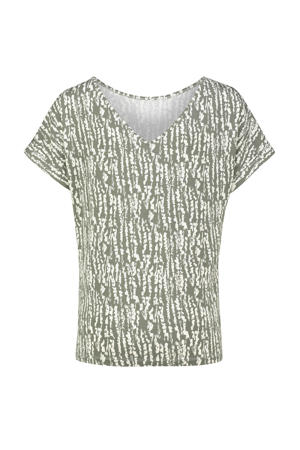 T-shirt met all over print lichtgroen/wit