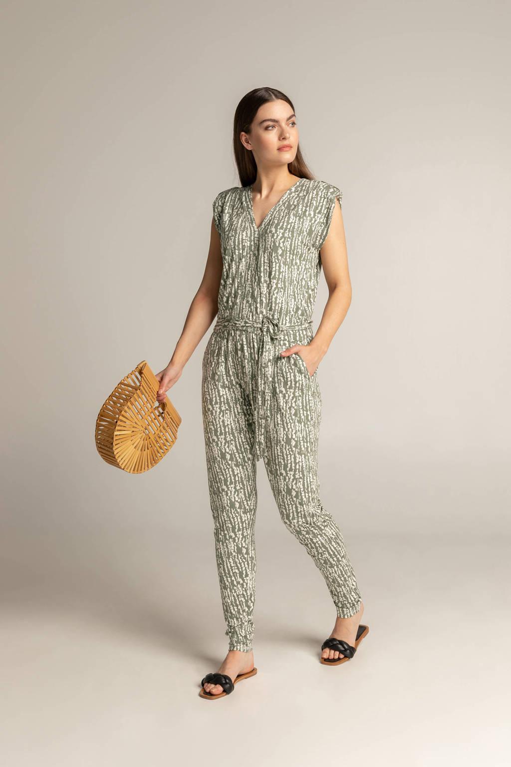 Expresso jumpsuit met all over print groen/ecru, Groen/ecru