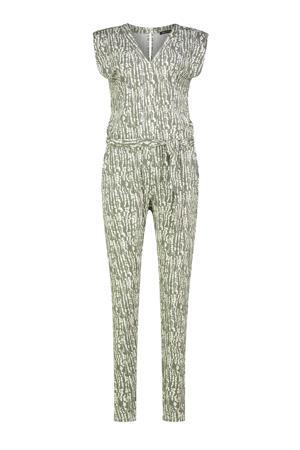jumpsuit met all over print groen/ecru