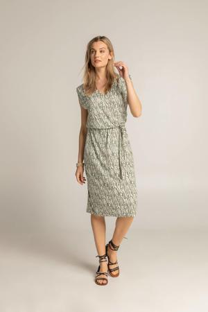 jurk met all over print en ceintuur groen