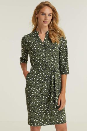 Travel jurk met dierenprint groen