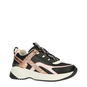 Kumi  leren chunky sneakers zwart/roségoud