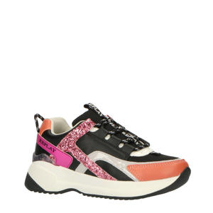Kumi  leren chunky sneakers zwart/roze