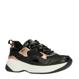 CLOCK  sneakers zwart/roségoud