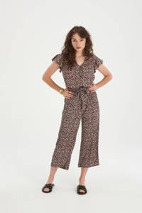 Shoeby Eksept jumpsuit Julia met all over print zwart/rood/ecru, Zwart/rood/ecru