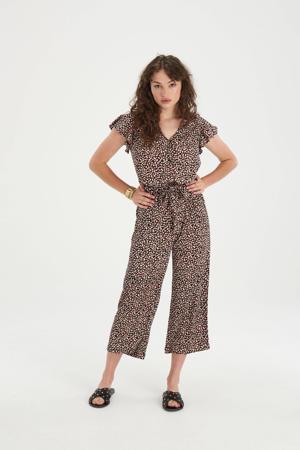 jumpsuit Julia met all over print zwart/rood/ecru
