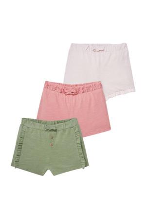 sweatshort - set van 3 groen/roze/lichtroze