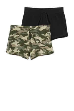 sweatshort - set van 2 camouflage groen/zwart