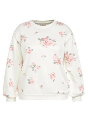 gebloemde sweater wit/roze