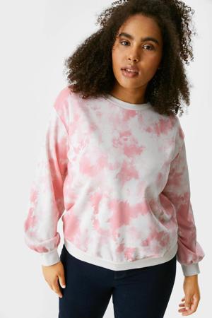 tie-dye sweater wit/roze