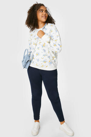 gebloemde sweater wit/blauw/geel