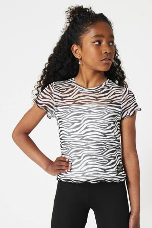 T-shirt Erva met zebraprint zwart/wit