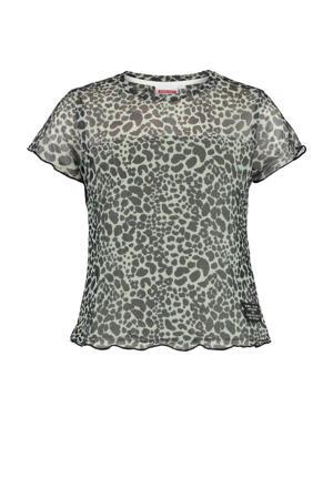 T-shirt Erva met all over print zwart/groen