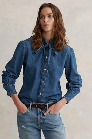 blouse met ruches blauw