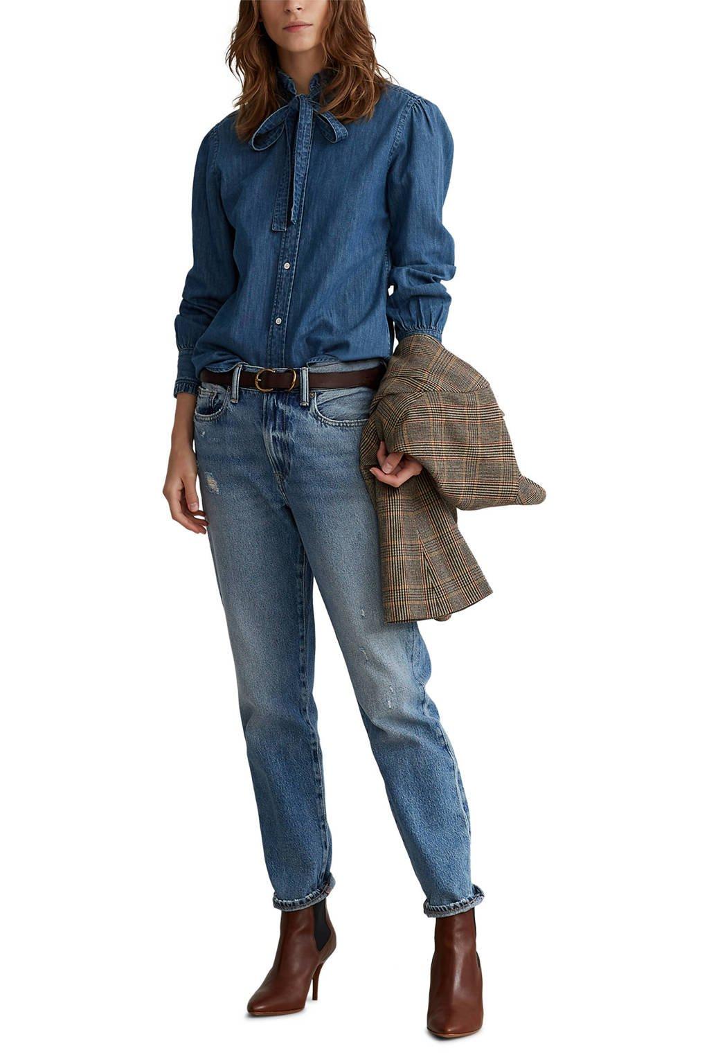 POLO Ralph Lauren blouse met ruches blauw, Blauw