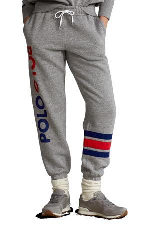 tapered fit joggingbroek met logo grijs