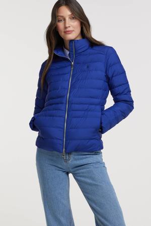 gewatteerde jas van gerecycled polyester blauw