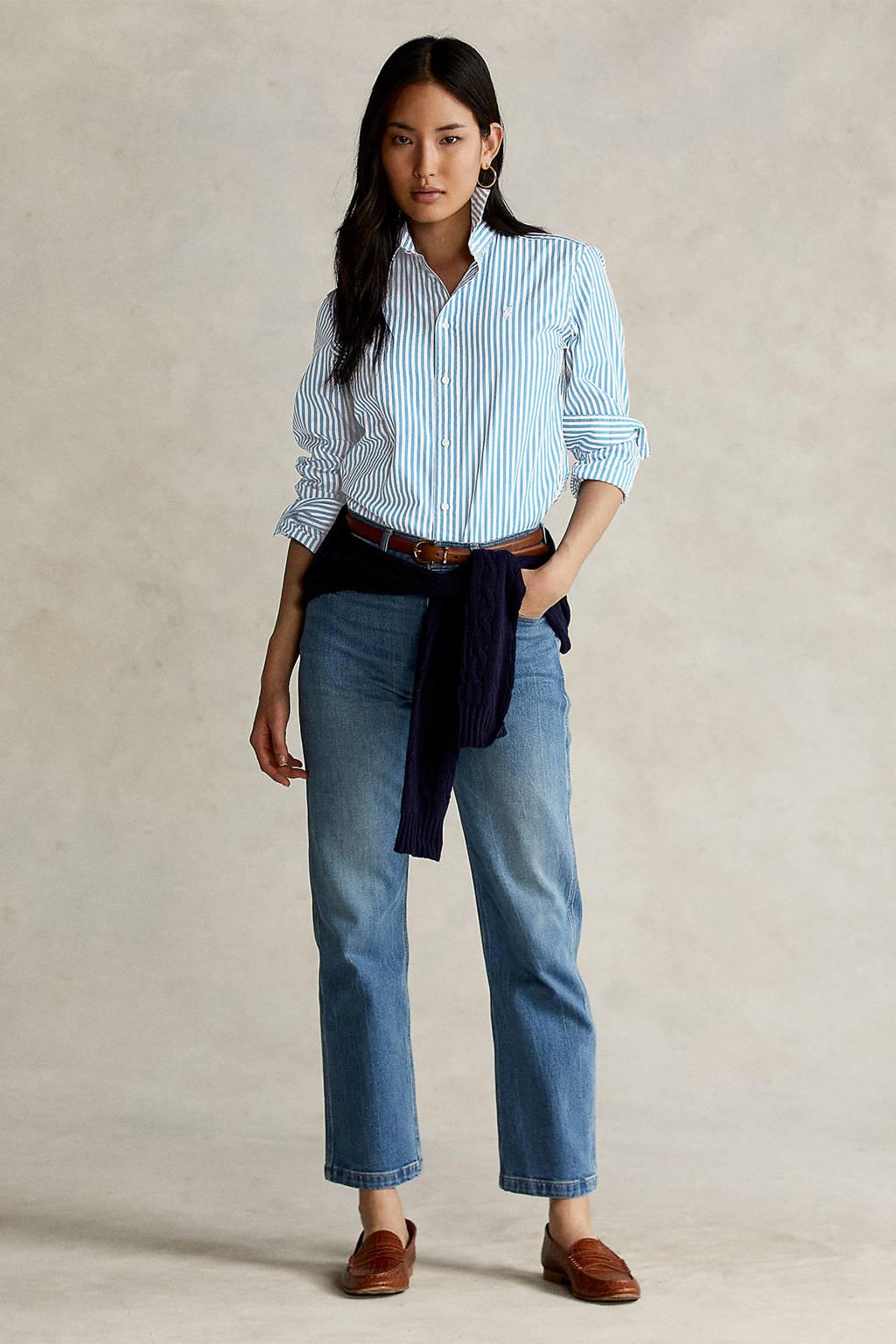 POLO Ralph Lauren gestreepte blouse lichtblauw, Lichtblauw
