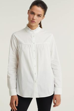 poplin blouse met ruches wit