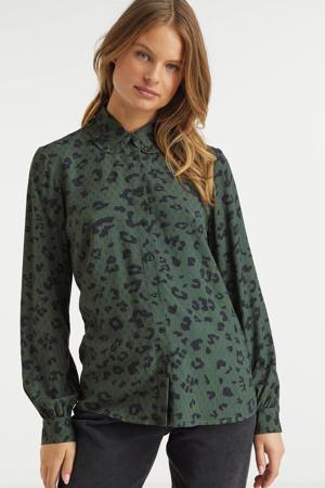 blouse met peter pan kraag dierenprint