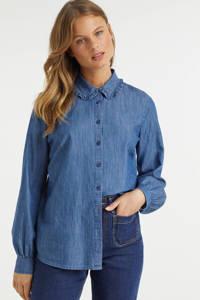 anytime blouse met peter pan kraag, Blauw
