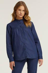 anytime denim blouse met ruches blauw, Denim blauw