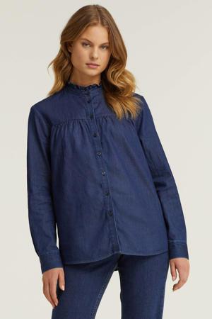denim blouse met ruches blauw