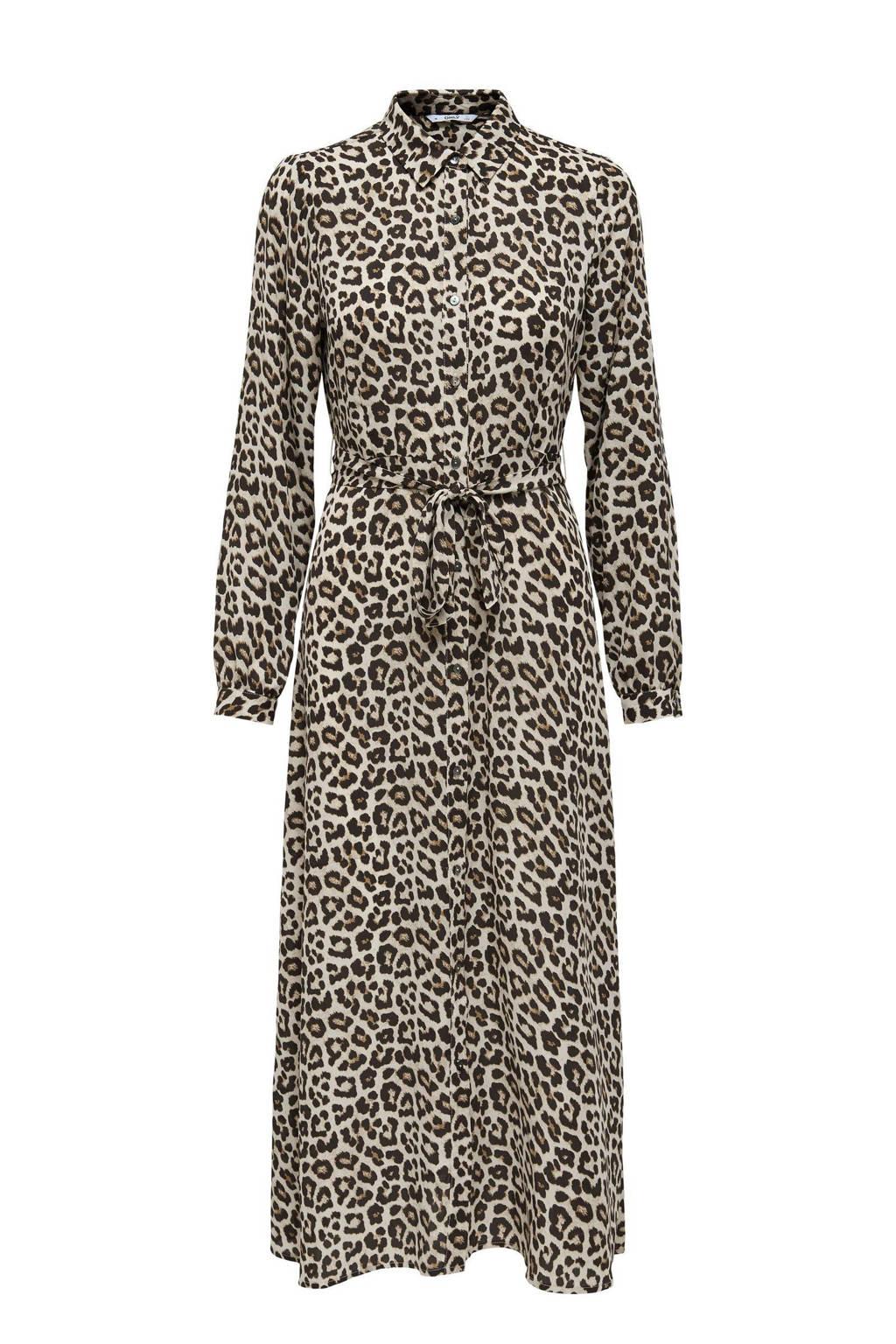 ONLY blousejurk ONLNEWALMA van gerecycled polyester beige/bruin/zwart, Beige/bruin/zwart