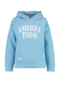 America Today Junior sweater Skye met logo blauw, Blauw