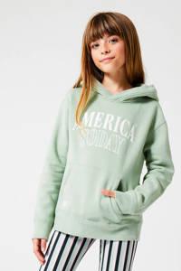 America Today Junior hoodie Skye met logo mintgroen, Mintgroen
