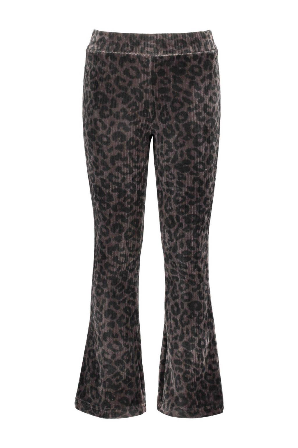 B.Nosy velours flared broek met dierenprint zwart/grijs, Zwart/grijs