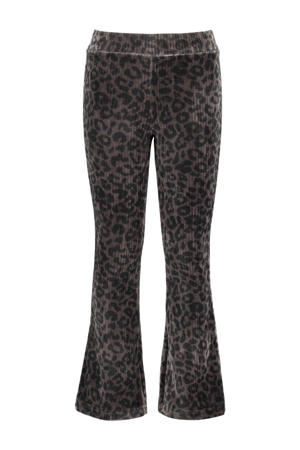velours flared broek met dierenprint zwart/grijs
