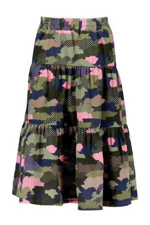 rok met camouflageprint groen/zwart/roze