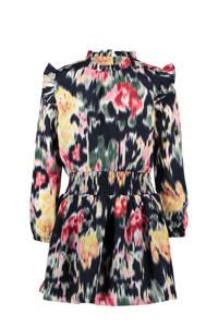 B.Nosy jurk met all over print en ruches roze/donkerblauw/beige, Roze/donkerblauw/beige