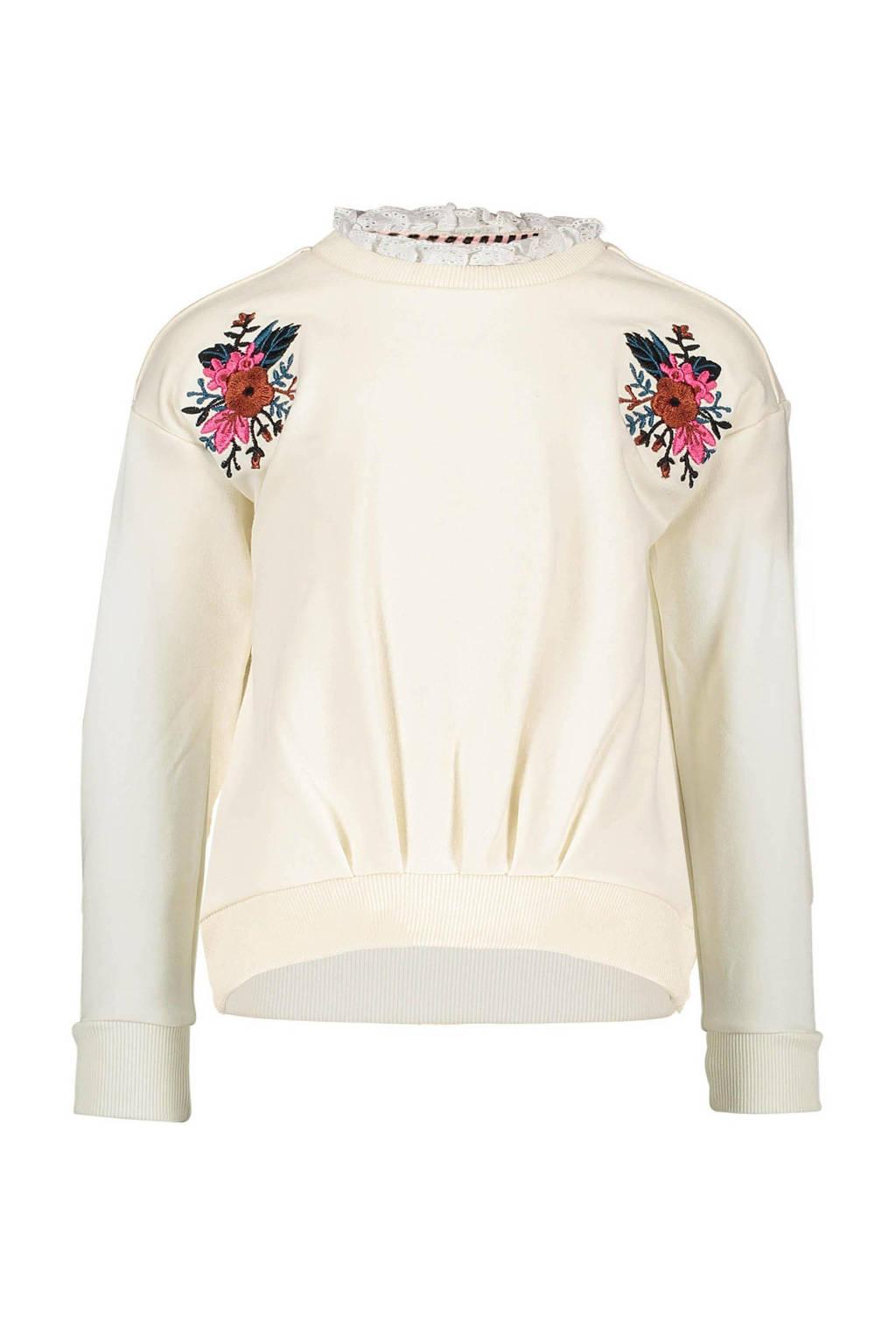 B.Nosy sweater met borduursels off white/roze/groen, Off white/roze/groen
