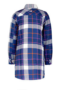 B.Nosy lange blouse met ruitprint kobaltblauw, Kobaltblauw/wit