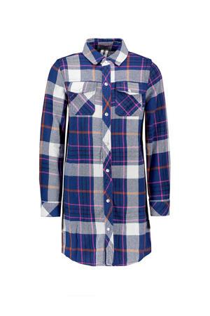 lange blouse met ruitprint kobaltblauw