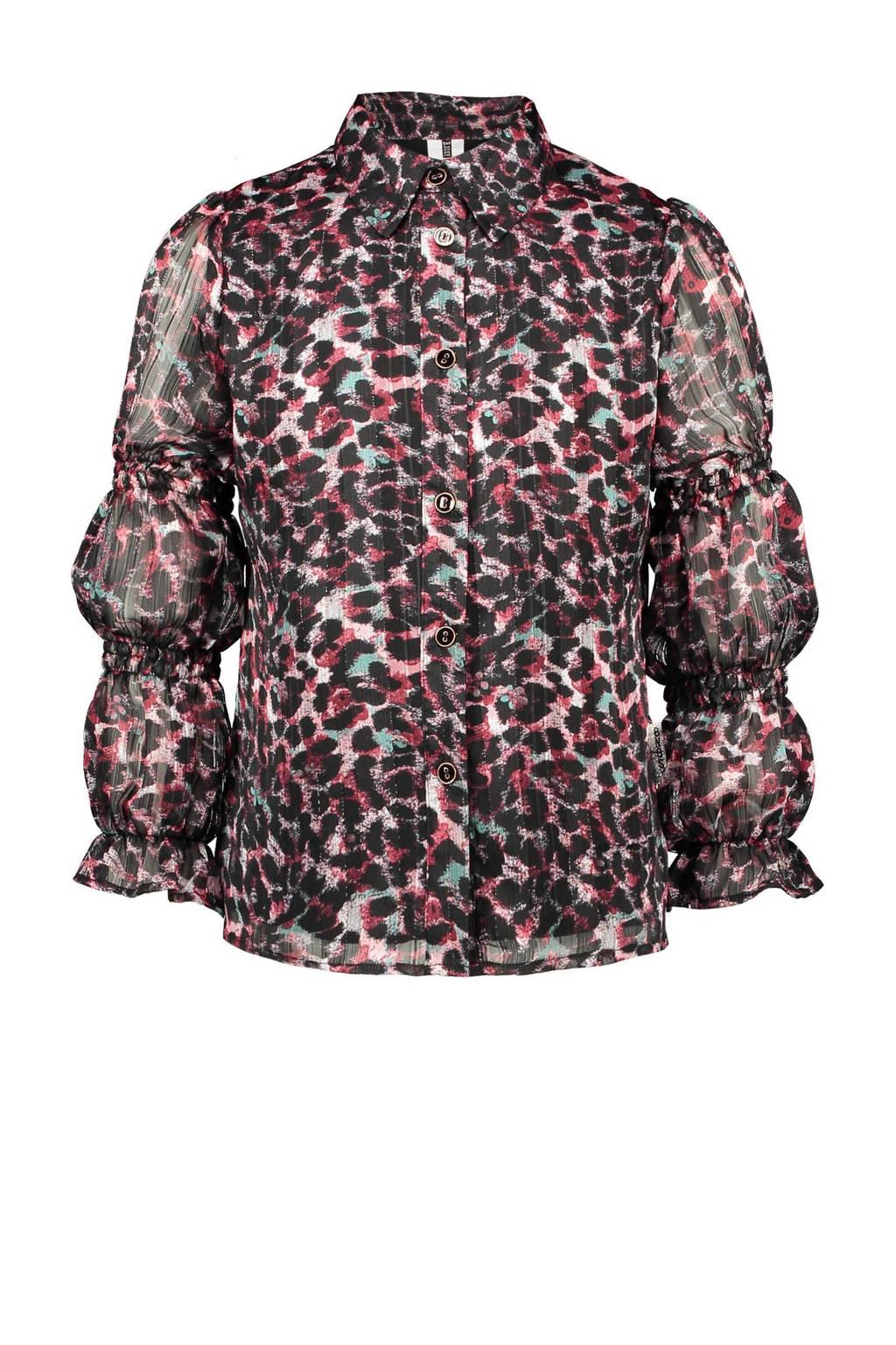 B.Nosy blouse met all over print roze/zwart, Roze/zwart