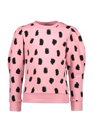 sweater met all over print roze/zwart