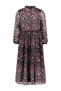 B.Nosy maxi jurk met all over print en ruches roze/zwart, Roze/zwart