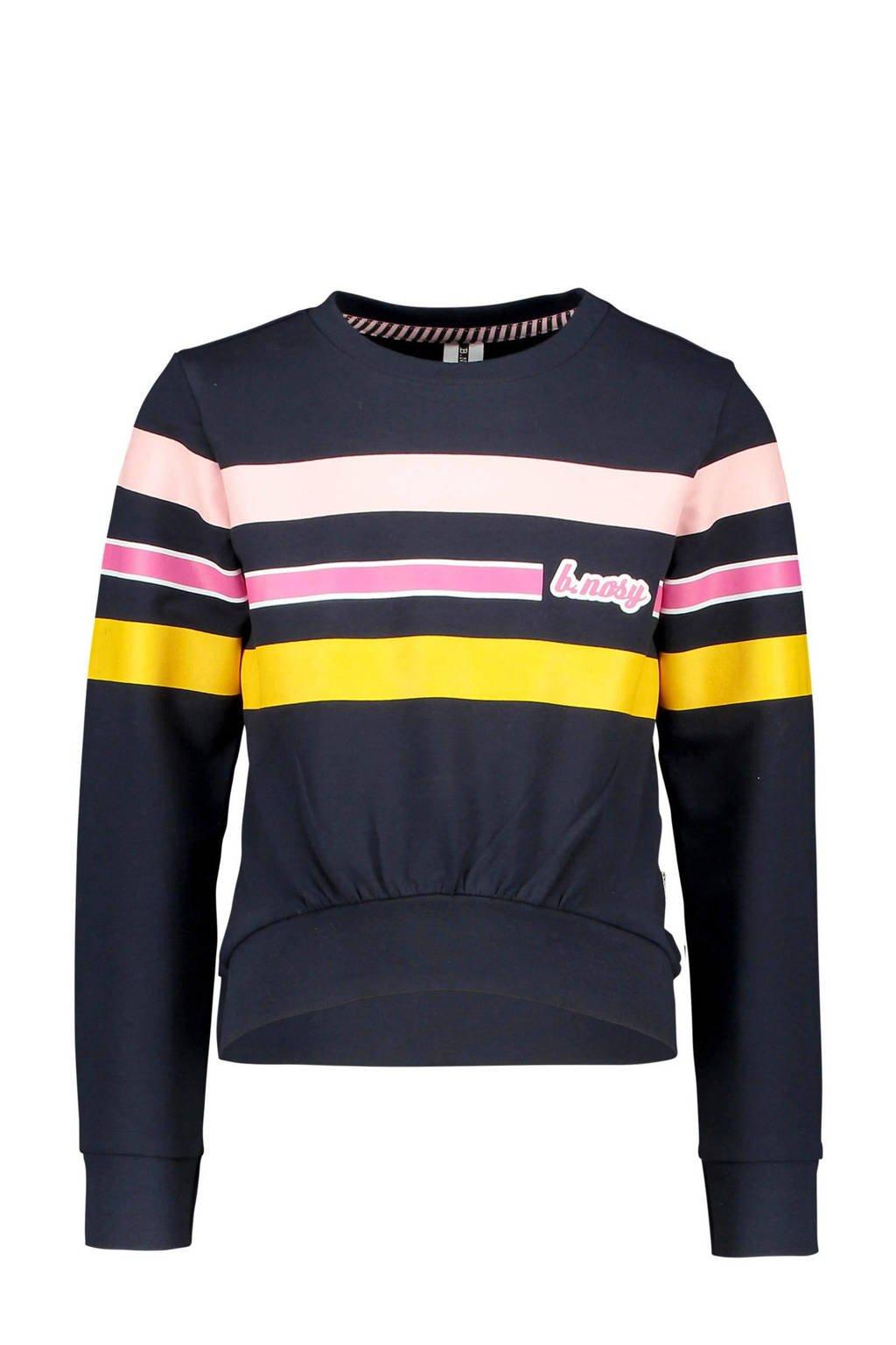 B.Nosy gestreepte sweater nachtblauw/roze/geel, Nachtblauw/roze/geel