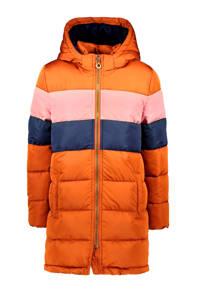 B.Nosy lange gewatteerde winterjas camel/roze/donkerblauw, Camel/roze/donkerblauw