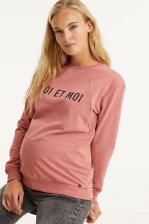 zwangerschaps- en voedingssweater met tekst roze