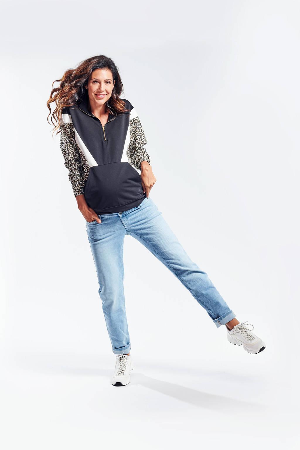 LOVE2WAIT zwangerschaps- en voedingshoodie met dierenprint zwart/wit/beige, Zwart/wit/beige