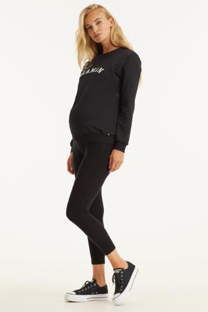 zwangerschaps- en voedingssweater met tekst zwart