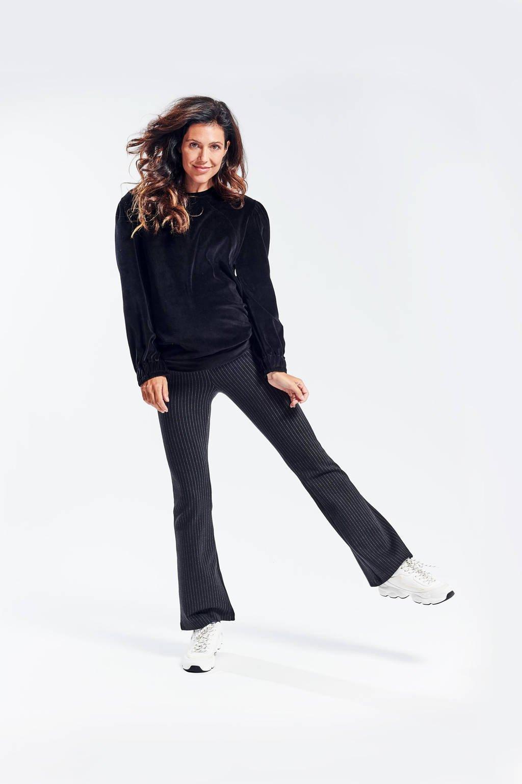 LOVE2WAIT velours zwangerschaps- en voedingssweater Nicky zwart, Zwart